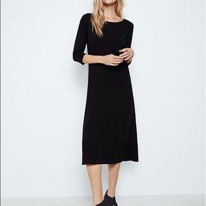 Eileen Fisher Black Scoop Neck Midi Jersey Dress